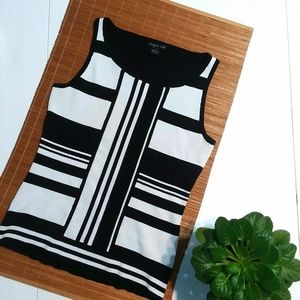 August Silk Black White Colorblock Sleeveless Top